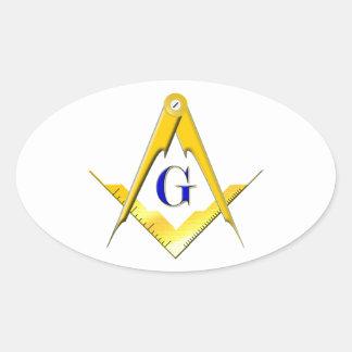 Blue Lodge Square & Compasses Oval Sticker