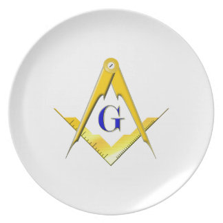Blue Lodge Square & Compasses Dinner Plates