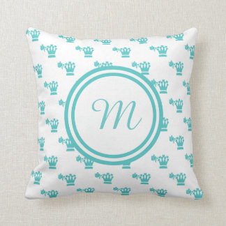 Blue Logo Pattern White BG Monogram Throw Pillow