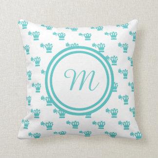 Blue Logo Pattern White BG Monogram Throw Pillows
