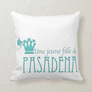 Blue Logo Pattern White BG Throw Pillow
