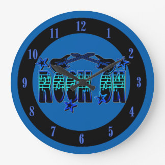 Blue Logo Rock On Guitars & Stars Wall Clock