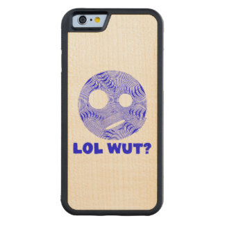 Blue LOL WUT Silly Smiley Face Funny Humor Carved® Maple iPhone 6 Bumper