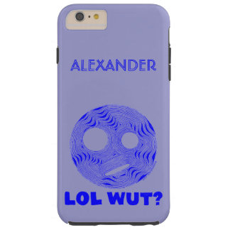 Blue LOL WUT Silly Smiley Face Funny Humor Tough iPhone 6 Plus Case