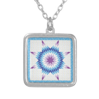 Blue Lone Star Quilt Design Silver Plated Necklace
