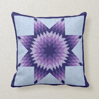 Blue Lone Star Quilt Design Throw Pillow