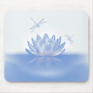 Blue Lotus and Dragonflies Mouse Pad