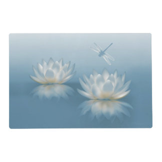 Blue Lotus and Dragonfly Laminated Placemat