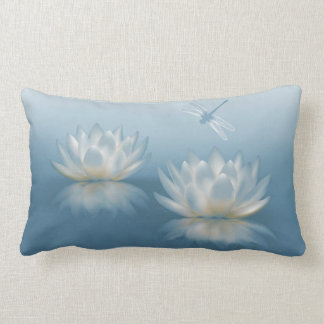 Blue Lotus and Dragonfly Lumbar Pillow