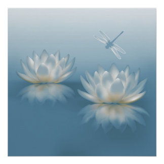 Blue Lotus and Dragonfly Poster