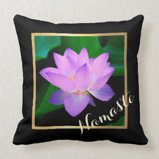 Blue Lotus Beautiful Purple Flower Namaste Throw Pillow