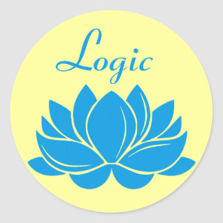 Blue Lotus Blossom Logic Round Stickers