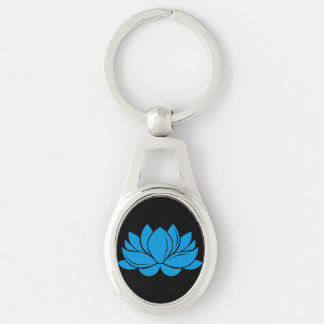 Blue Lotus Blossom Silver-Colored Oval Metal Keychain