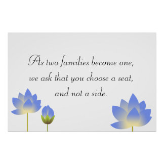 Blue lotus blossoms gray wedding seating sign poster