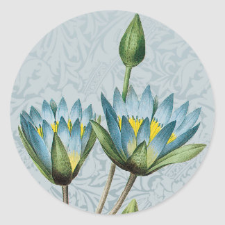 Blue Lotus Floral Sticker Envelope Seal