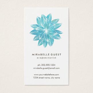blue lotus floral watercolor business card