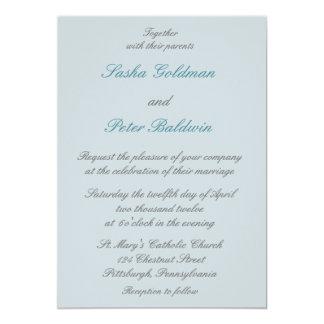 Blue Lotus Floral Wedding Invitation