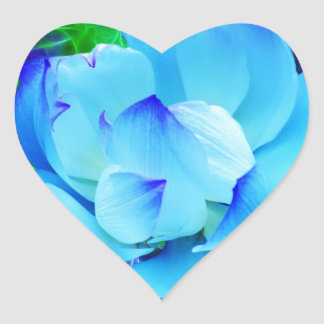Blue lotus flower and its meaning heart sticker