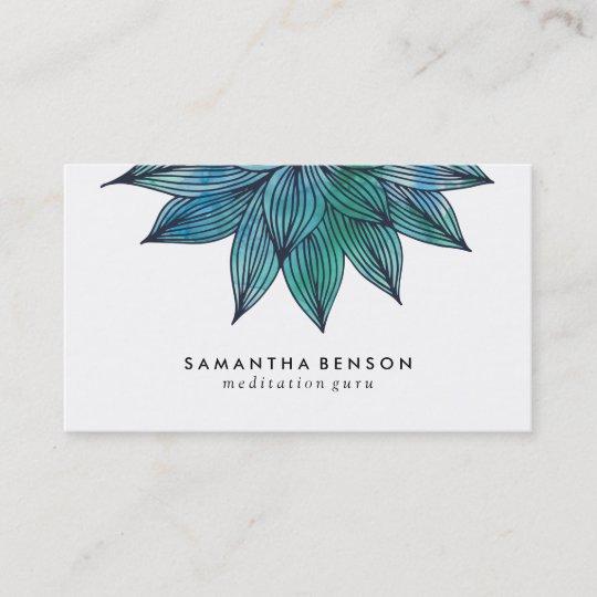 Blue Lotus Flower Floral Watercolor Business Card Zazzle