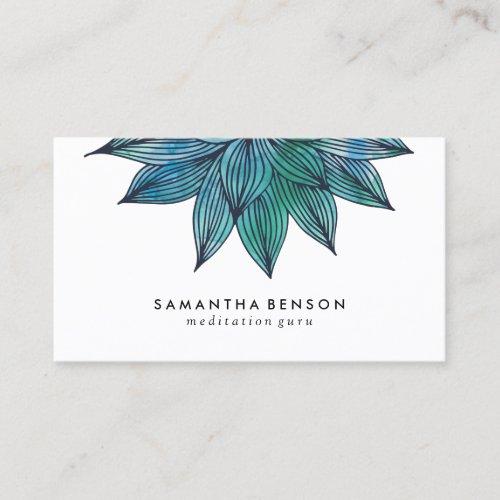Blue Lotus Flower  Floral Watercolor Business Card