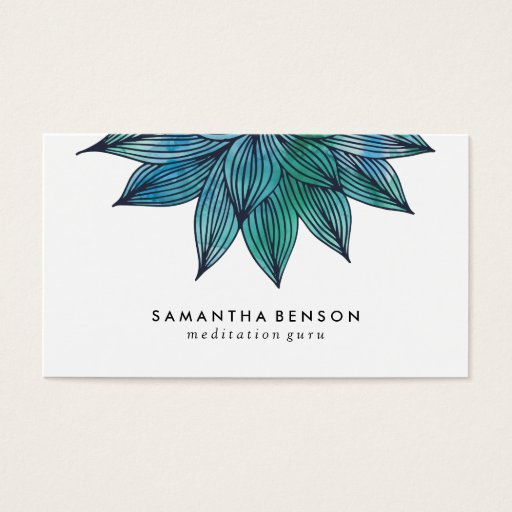 Blue Lotus Flower | Floral Watercolor Business Card