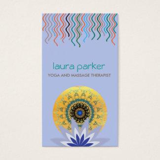 Blue Lotus Flower Logo Yoga Damask Healing Health Business Card