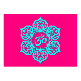 Blue Lotus Flower Om on Pink Large Business Cards (Pack Of 100)