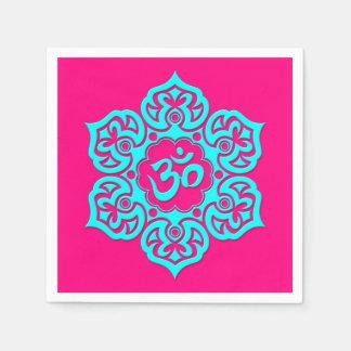Blue Lotus Flower Om on Pink Paper Napkin