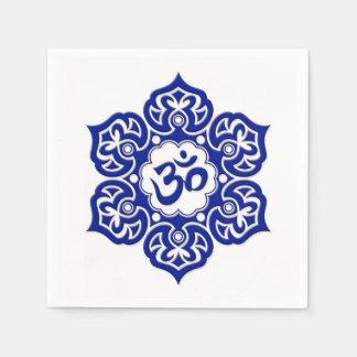 Blue Lotus Flower Om on White Paper Napkin
