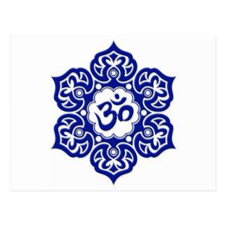 Blue Lotus Flower Om on White Postcard