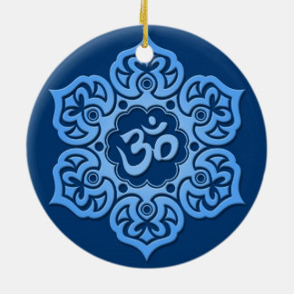 Blue Lotus Flower Om Double-Sided Ceramic Round Christmas Ornament