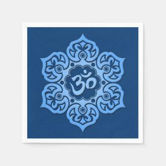 Blue Lotus Flower Om Paper Napkin