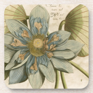 Blue Lotus Flower on Tan Background with Writing Coaster