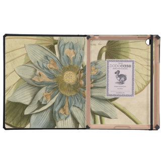 Blue Lotus Flower on Tan Background with Writing Cover For iPad