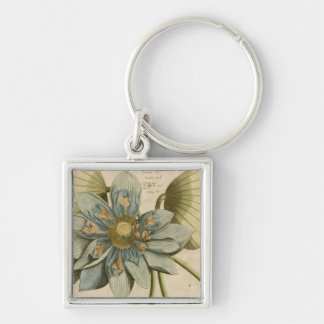 Blue Lotus Flower on Tan Background with Writing Keychain