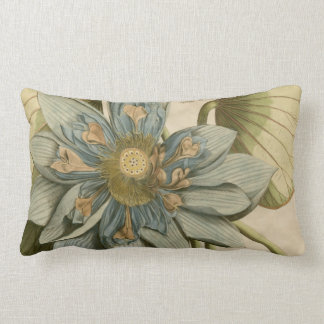 Blue Lotus Flower on Tan Background with Writing Lumbar Pillow