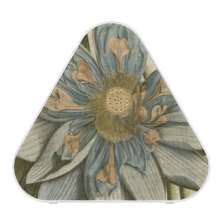 Blue Lotus Flower on Tan Background with Writing Speaker