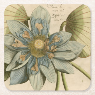 Blue Lotus Flower on Tan Background with Writing Square Paper Coaster