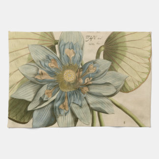 Blue Lotus Flower on Tan Background with Writing Towel