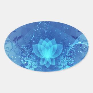 Blue Lotus Flower Oval Sticker