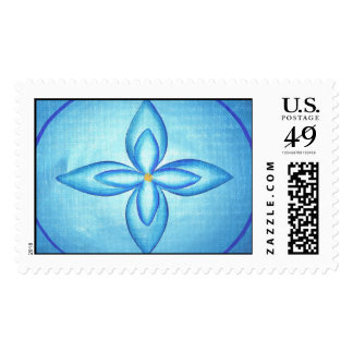 Blue lotus flower painting Postage Stamps