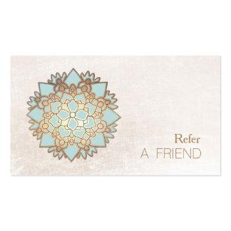 Blue Lotus Flower Salon & Spa Refer A Friend White Business Card