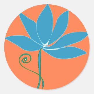 Blue Lotus Flower with Orange Background Classic Round Sticker