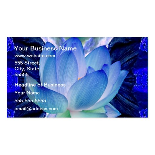 Blue lotus lily business card templates