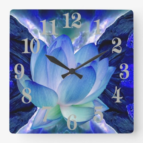 Blue lotus lily flower square wall clock