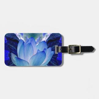 Blue lotus lily luggage tag
