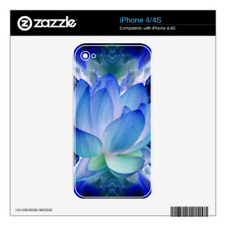 Blue lotus lily skins for iPhone 4S