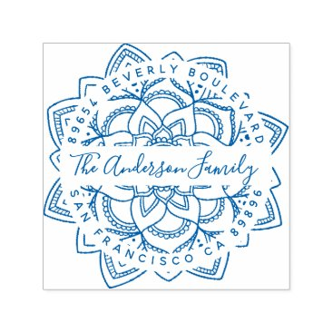 invintage Blue Lotus Mandala Family Name Return Address Self-inking Stamp