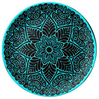Blue Lotus Mandala Plate Porcelain Plates