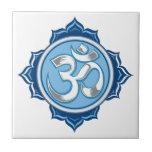 Blue Lotus Om Tile